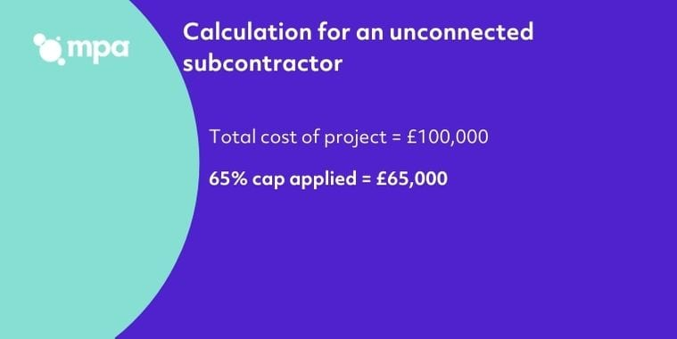 Calculation for an unconnected subcontractor